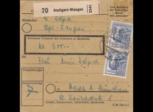 BiZone Paketkarte 1948: Stuttgart-Wangen nach Haar, Wertkarte