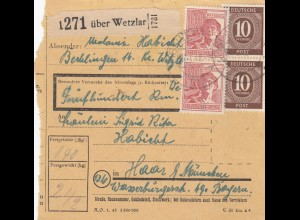 BiZone Paketkarte 1948: Berklingen über Wetzlar nach Haar, Wertkarte