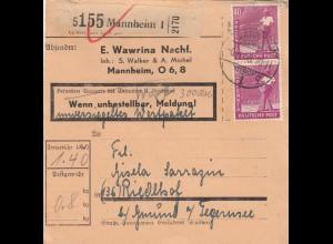 BiZone Paketkarte 1948: Mannheim n. Riedlhof, Selbstb., unversiegeltes Wertpaket