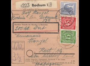 BiZone Paketkarte 1948: Bochum nach Hart Mühldorf, Wertkarte