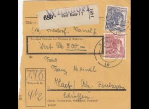 BiZone Paketkarte 1948: Wichdorf nach Hart Schroffen, Wertkarte