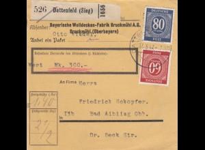 BiZone Paketkarte 1947: Dattenfeld, Wolldecken, nach Bad Aibling, Wertkarte