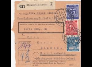 BiZone Paketkarte 1948: Irmelshausen Königshofen nach Hart Alz, Wertkarte