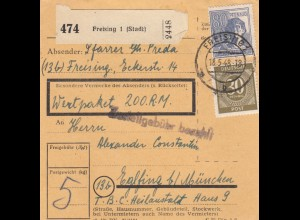 BiZone Paketkarte 1948: Freising nach Eglfing, T.B.C. Heilanstalt, Wertkarte