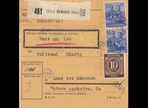 BiZone Paketkarte 1948: Eichstätt Schernfeld nach Haar, Wertkarte