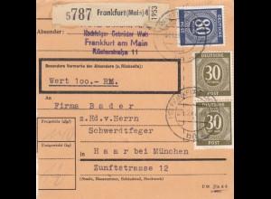 BiZone Paketkarte 1947: Frankfurt, Gebr. Weis nach Haar, Wertkarte