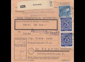 BiZone Paketkarte 1947: Dominial-Kanzlei Schwarzenberg Scheinfeld, Wertkarte