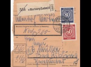 BiZone Paketkarte 1947: Almdorf Marburg nach Bad Aibling, Wertkarte