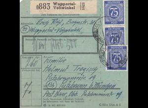 BiZone Paketkarte 1948: Wuppertal-Vohwinkel n. Putzbrunn, Wertkarte, bes. Form.