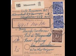 BiZone Paketkarte 1948: Münnerstadt nach Haar, Heilanstalt, Wertkarte