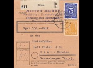 BiZone Paketkarte 1947: Olching, Damenbekleidung nach Haar, Wertkarte