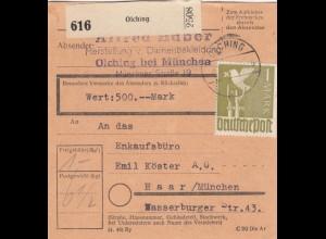 BiZone Paketkarte 1947: Olching nach Haar, Einkaufsbüro, Wertkarte