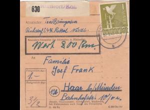 BiZone Paketkarte 1948: Ruhstorf nach Haar b. München, Wertkarte