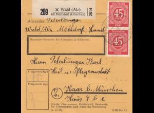 BiZone Paketkarte 1948: Wald über Mühldorf nach Haar, Heilanstalt