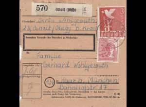 BiZone Paketkarte 1948: Ocholt nach Haar bei München