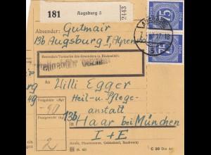 BiZone Paketkarte 1948: Augsburg 5 nach Haar, Heilanstalt