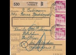 BiZone Paketkarte 1948: Hamburg-Farmsen nach Haar, Nachgebühr