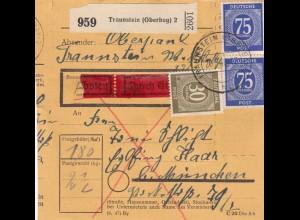 BiZone Paketkarte 1948: Traunstein nach Eglfing, durch Eilboten