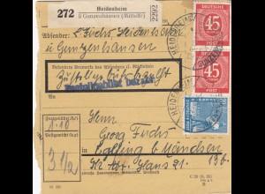 BiZone Paketkarte 1948: Gunzenhausen nach Eglfing b.München