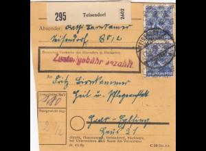BiZone Paketkarte 1948: Teisendorf nach Haar-Eglfing