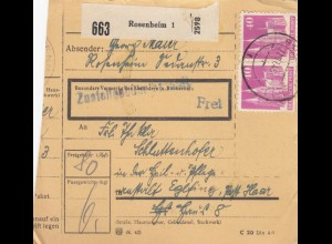 BiZone Paketkarte 1948: Rosenheim nach Eglfing, Post Haar, Heilanstalt