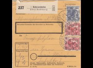 BiZone Paketkarte 1948: Schwarzhofen nach Haar bei München