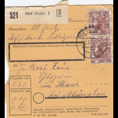 BiZone Paketkarte 1948: Hof Saale nach Haar, Pflegerin