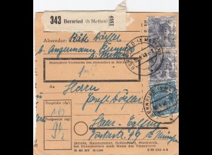 BiZone Paketkarte 1948: Bernried nach Haar-Eglfing