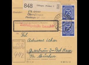 BiZone Paketkarte 1948: Oberesslingen nach Grasbrunn