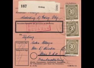 BiZone Paketkarte 1948: Niedererding nach Haar b. München