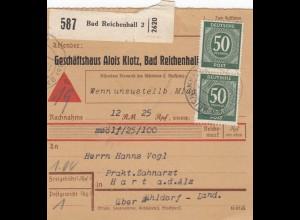 BiZone Paketkarte 1948: Bad Reichenhall nach Hart, Selbstbucher, Nachnahme