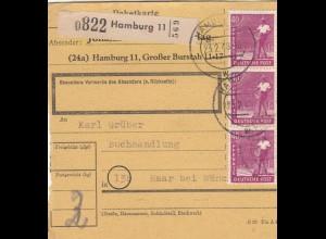BiZone Paketkarte 1948: Hamburg 11 nach Buchhandlung Haar, Selbstbucher