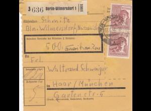 BiZone Paketkarte 1948: Berlin-Wilmersdorf nach Haar, Wertkarte