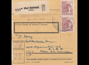 BiZone Paketkarte 1948: Herborn Landesheilanstalt nach Haar