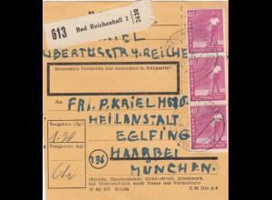 BiZone Paketkarte 1948: Bad Reichenhall nach Eglfing Haar, Heilanstalt