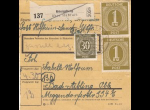 BiZone Paketkarte 1946: Königsberg Post Hofheim-Land nach Bad Aibling