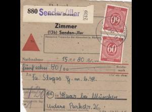 BiZone Paketkarte 1948: Senden Iller nach Haar, Nachnahme, Selbstbucher