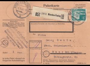 BiZone Paketkarte 1948: München-Pasing nach Haar, Schreinerei