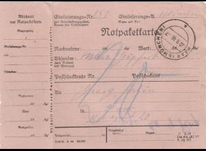 BiZone Paketkarte 1948: Notpaketkarte nach Haar, Nachgebühr