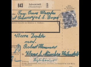 BiZone Paketkarte 1948: Schwarzach nach Haar, Heilanstalt