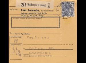 BiZone Paketkarte 1948: Weißensee nach Haar, Selbstbucher