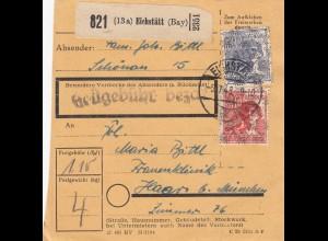 BiZone Paketkarte 1948: Eichstätt Schönau nach Haar, Frauenklinik