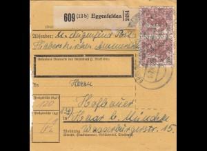 BiZone Paketkarte 1948: Eggenfelden Post Haberskirchen nach Haar