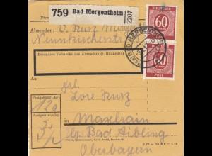 BiZone Paketkarte 1947: Bad Mergentheim nach b. Bad Aibling