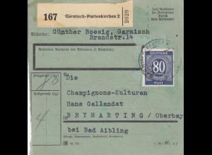 BiZone Paketkarte 1947: Garmisch-Patenkirchen nach Beyharting, bes. Formualr