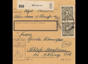BiZone Paketkarte 1947: München nach Schloß Maxlrain b. Aibling