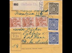 BiZone Paketkarte 1948: Friesenhausen Hofheim nach Putzbrunn, Haar