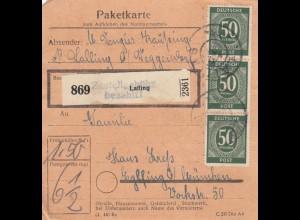 BiZone Paketkarte 1948: Lalling nach Eglfing bei München
