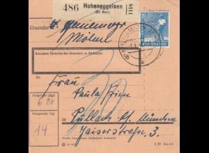 BiZone Paketkarte 1948: Hoheneggeisen nach Pullach, Nachgebühr