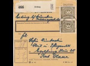 BiZone Paketkarte 1948: Erding nach Eglfing, Pflegeanstalt